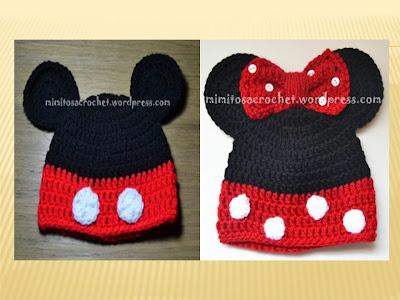 COMO HACER Gorros Mickey y Minnie Mouse TEJIDO A CROCHET
