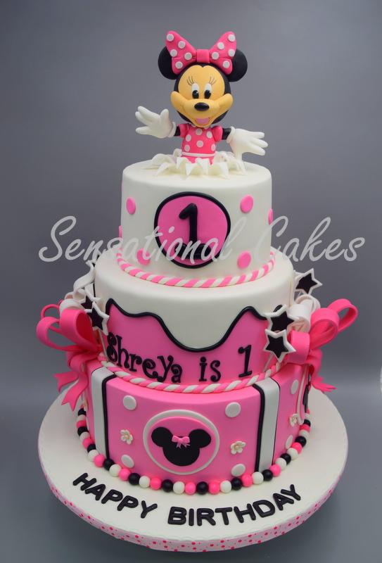 Minnie Mouse 3 Tier Pink Theme Girl Birthday Cake Singapore MinnieMousecake Pinktheme