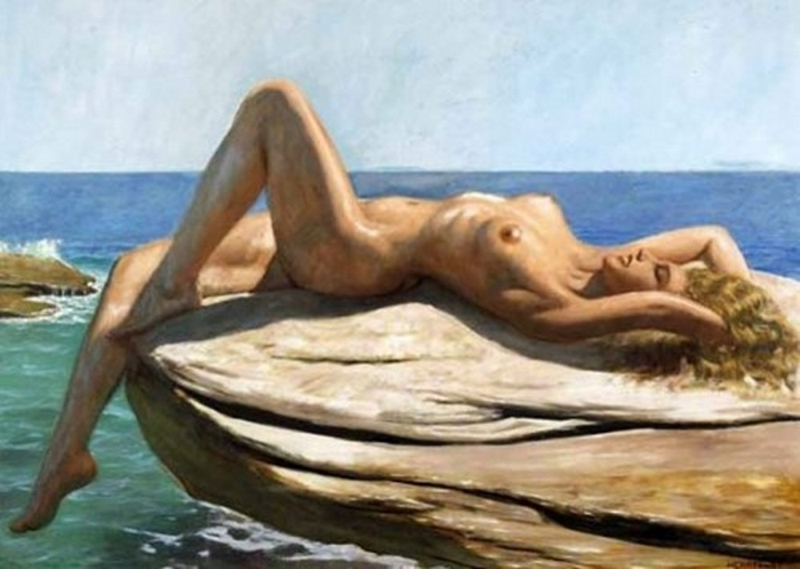 D.W.C. Nude on the Beach - Painter Marcel René Herrfeldt