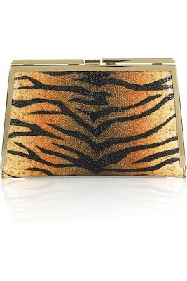 Donna Karan Tiger-Print Leather Clutch