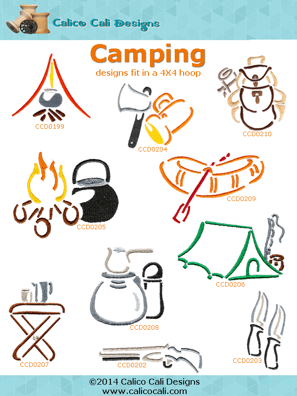 Camping Embroidery Designs