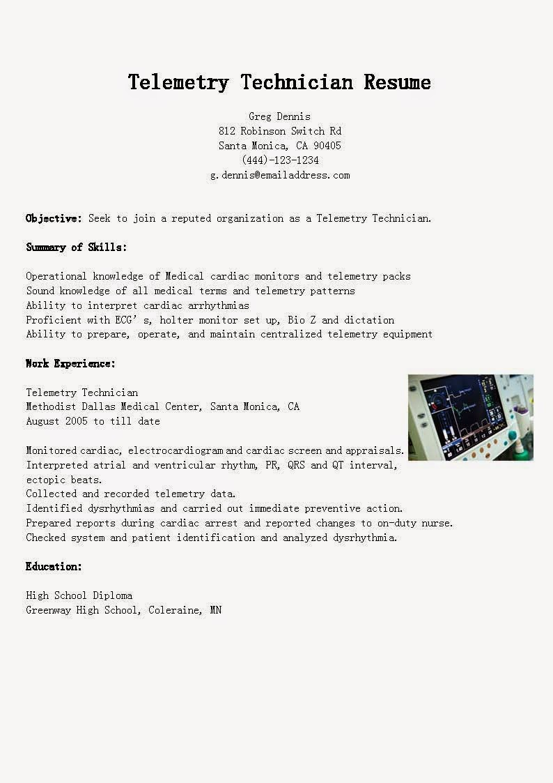 Telemetry Technician Resume Sample