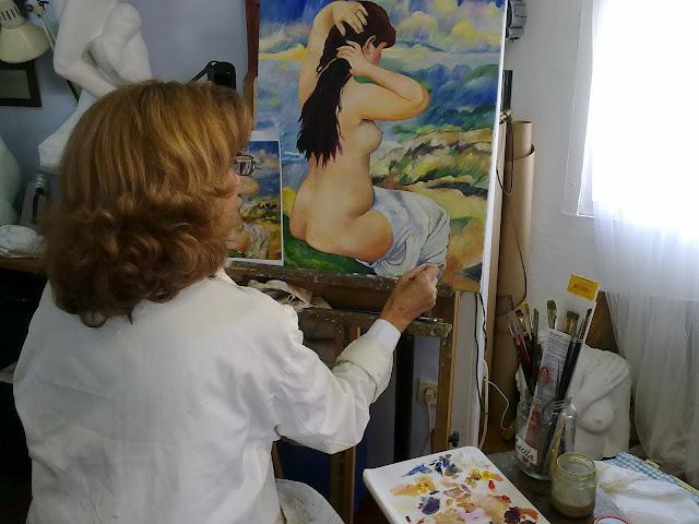 cuadro al oleo de bañista Renoir