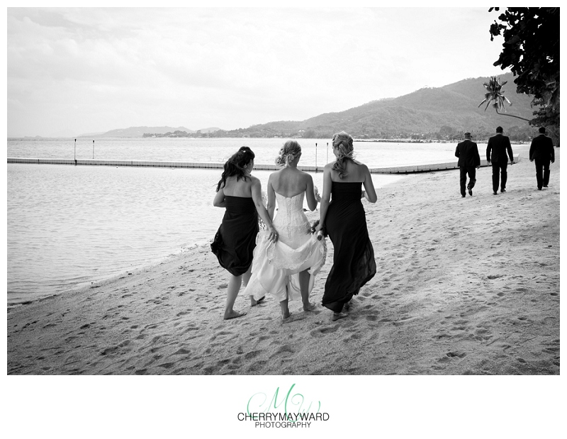bridal party walking on the beach, Koh Samui, Beach Republic, bridal photos