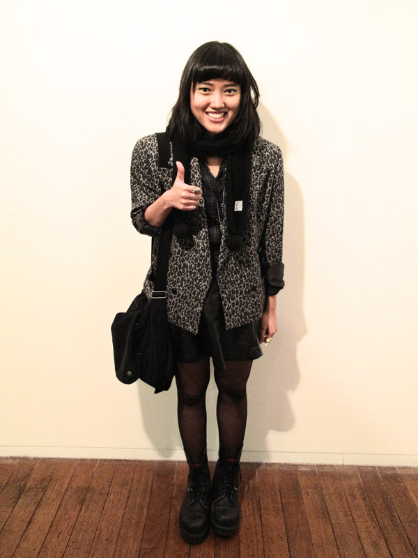 Street Fashion, Leopard print jacket and black leather skirt, Roslyn Oxley9