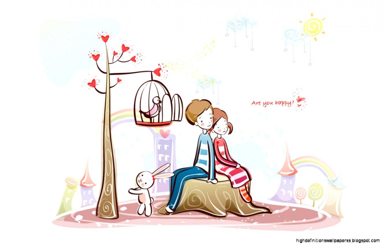 Valentine Day Couple Cartoon Wallpaper Hd Desktop High Definitions