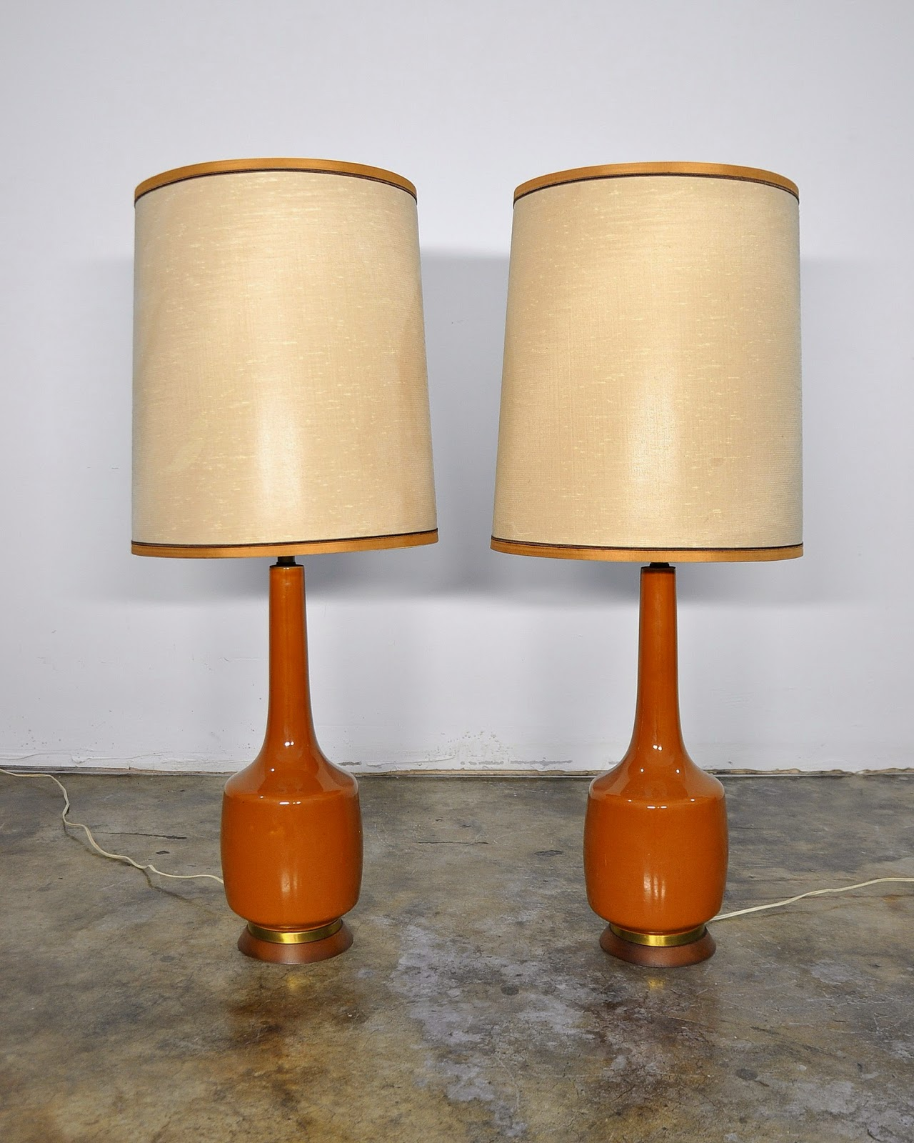 select modern pair of large danish modern ceramic table lamps. Black Bedroom Furniture Sets. Home Design Ideas