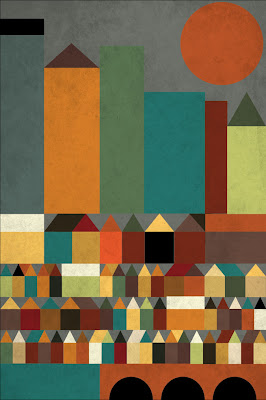 geometric shaped abstract of a city