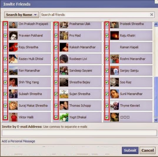 Select All Facebook Friends At Once for Invite