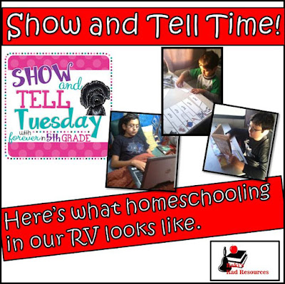 Show and tell time - what does homeschooling in an RV really look like? Find out in this blog post by Heidi Raki of Raki's Rad Resouces and RVing with the Rakis.