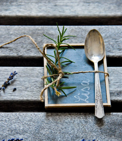 Sweet mini chalkboard place setting, by Funky Time, featured on Funky Junk Interiors