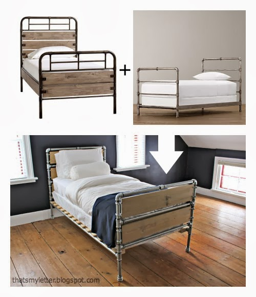 that 39 s my letter diy pipe wood slats bed. Black Bedroom Furniture Sets. Home Design Ideas