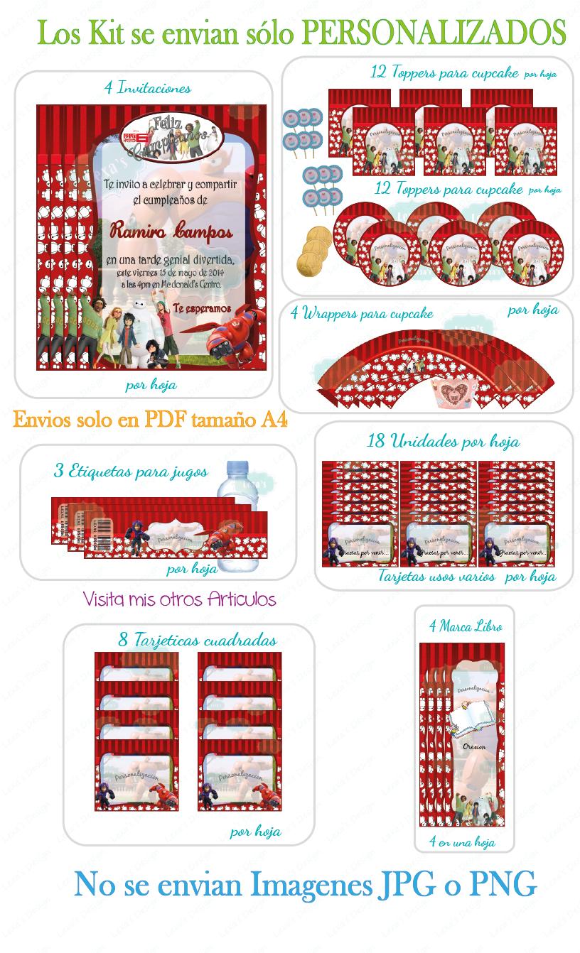 descarga Kit Imprimible Fiesta candy Bar Big Hero 6 / Grandes Heroes gratis