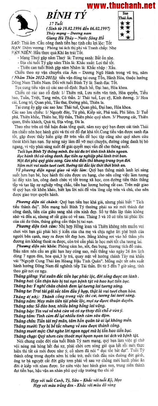 Tử vi tuổi Bính Tý nam mạng - Thái Ất tử vi 2012 Nhâm