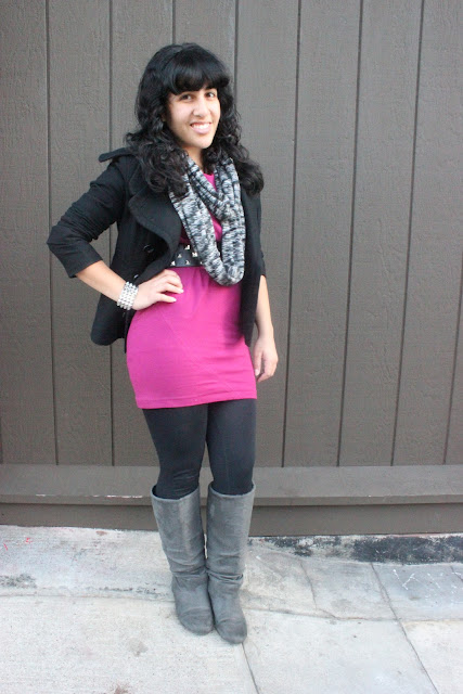 Pink and Black Winter Outfit