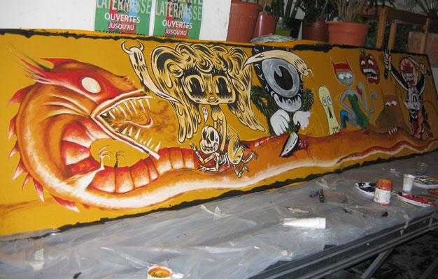 Le repas du serpent - Fresque par le collectif KRONIK