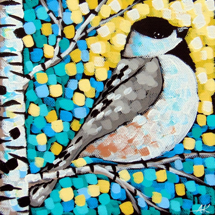 Chickadee, Aaron Kloss, Acrylic landscape, bird painting, spring, Minnesota, Pointillism