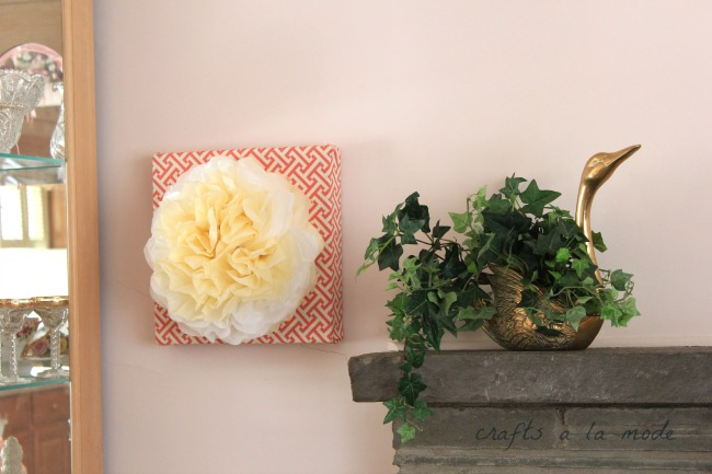 How to create your own paper flower wall art for under 5 crafts how to make a tissue paper wall art picture for cheap mightylinksfo