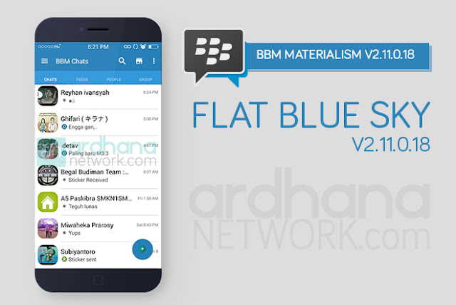 BBM Materialism Flat Blue Sky - BBM Android V2.11.0.18