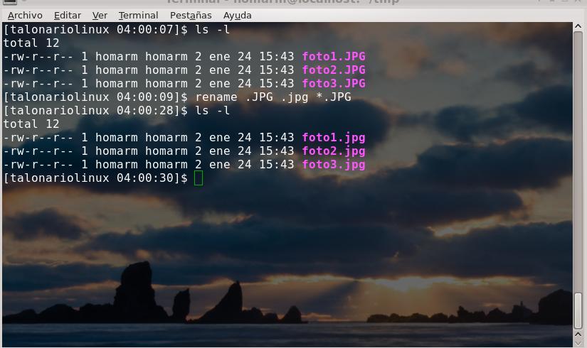 uso de comando rename consola linux renombrado masivo