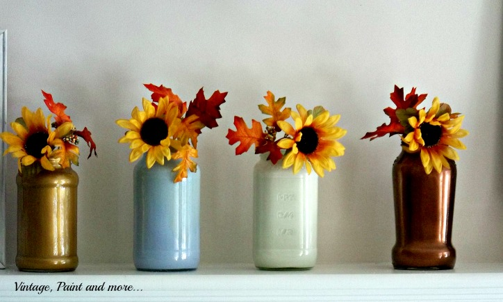 Vintage, Paint and more... metallic painted glass jars with sunflowers