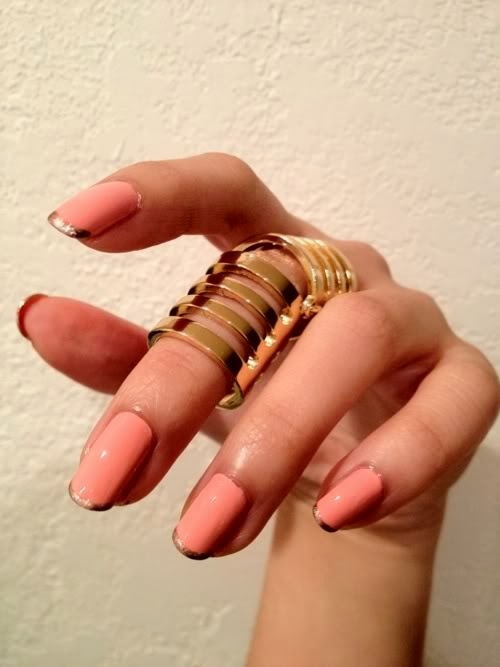 Pink Nails with Gold Tips