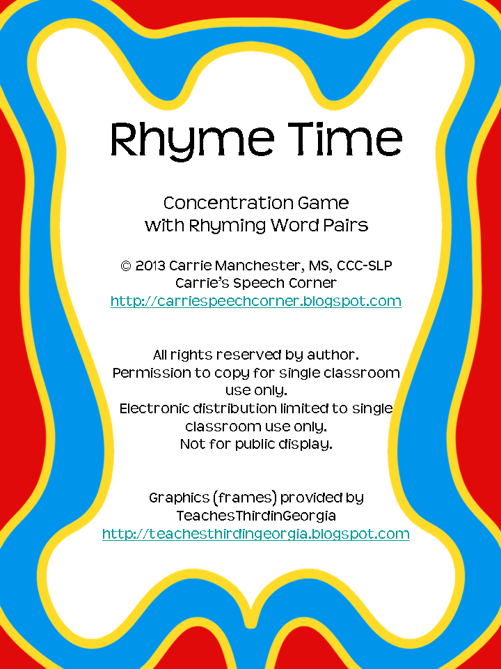 Carrie's Speech Corner: Rhyme Time {FREEBIE}