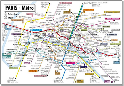 This is a subway metro map of Paris France