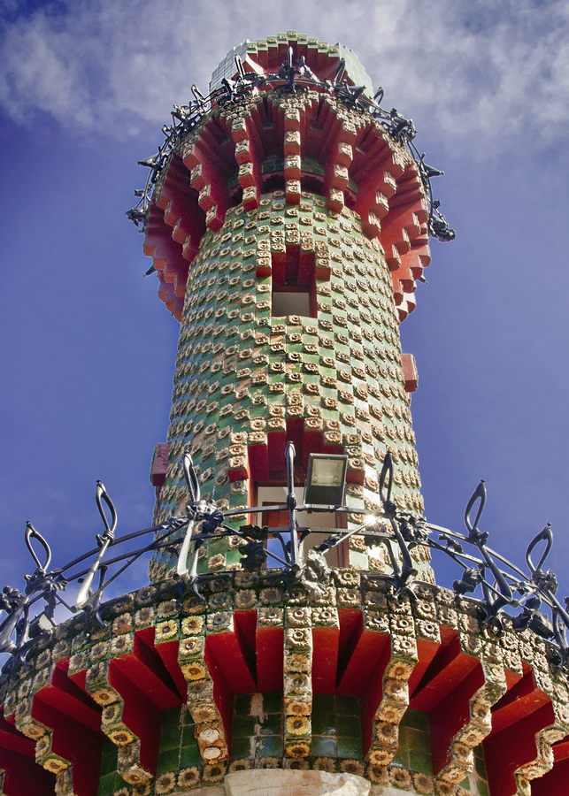 Tower in Gaudi's El Capricho, Comilla, Cantabria, Spain: