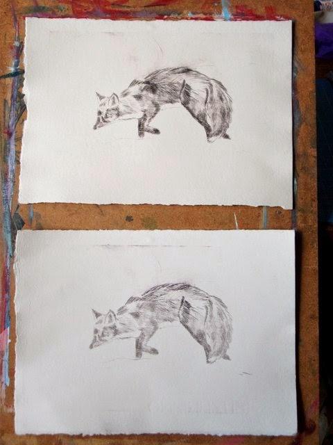 Fox drypoint print