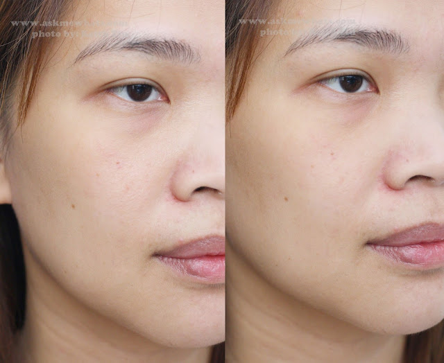 before and after photo of Revlon Photoready Prime anti shine