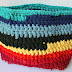 Rainbow Crochet Tshirt Yarn Bag