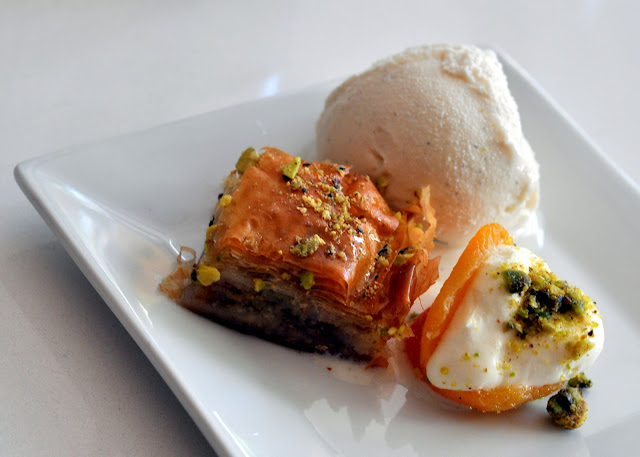 Baklava with Gelato and Stuffed Apricot - Tarla Mediterranean Grill - Napa, CA | Taste As You Go