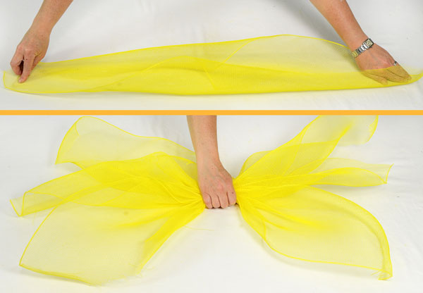 Sunflower tutorial- Layer cut pieces of deco mesh together to form petals.