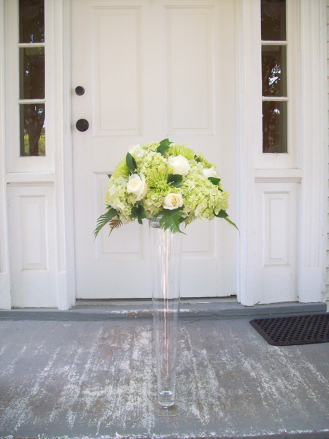sweet pea floral design, michigan, floral, florist, wedding, church arrangement, altar flowers, green hydrangea, ivory roses, fern, mill race village, northville wedding