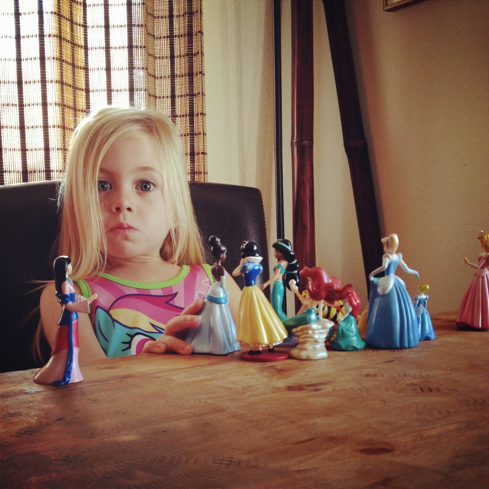 Dining Table Hemp Oil Finish girl playing with princesses disney