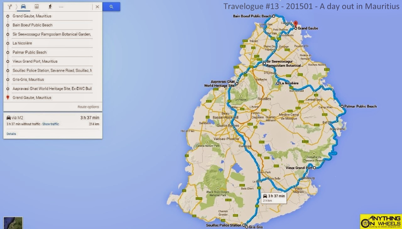 ANYTHING ON WHEELS Travelogue A Day Out In Mauritius - Map mauritius roads