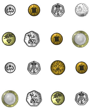 Image of a mix of UK coins from SEN Teacher.