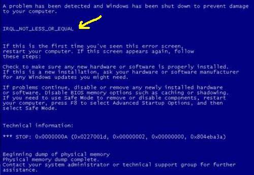 Cara Mengatasi Blue Screen IRQL_NOT_LESS_OR_EQUAL