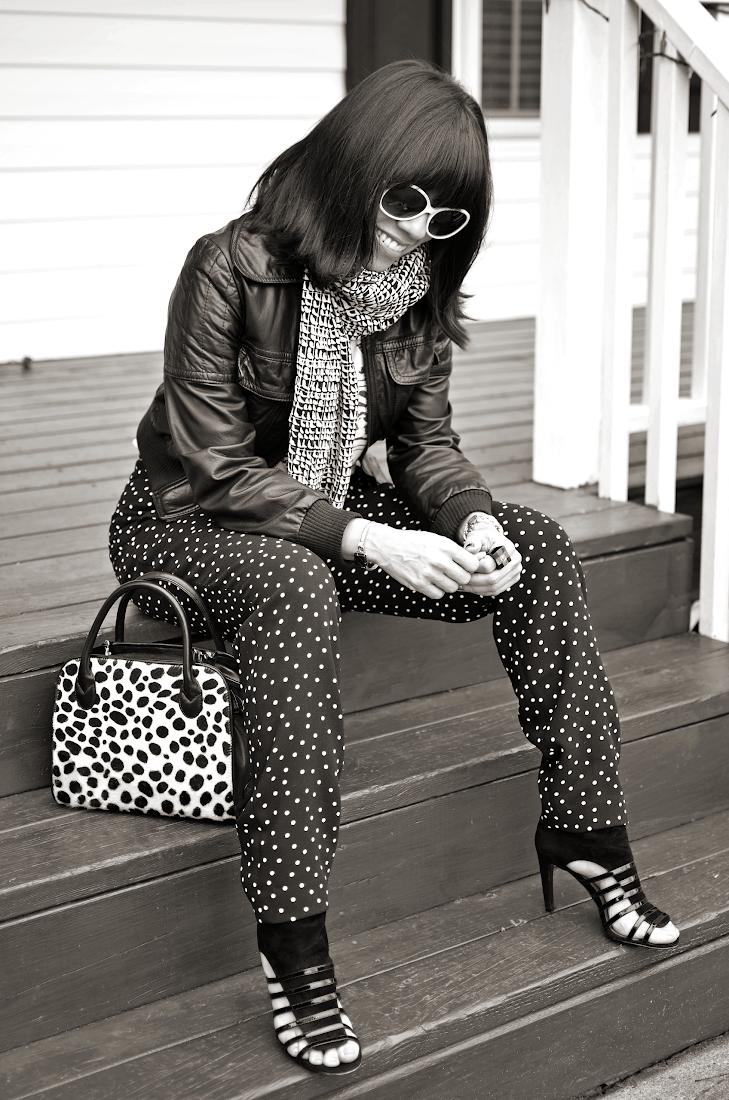 Polka Dots Pants Black and White Look
