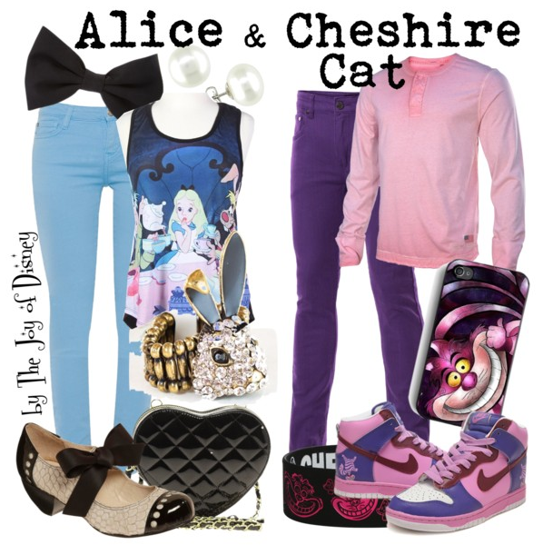 alice in wonderland, alice in wonderland couple, alice in wonderland costumes, cheshire cat, disney fashion