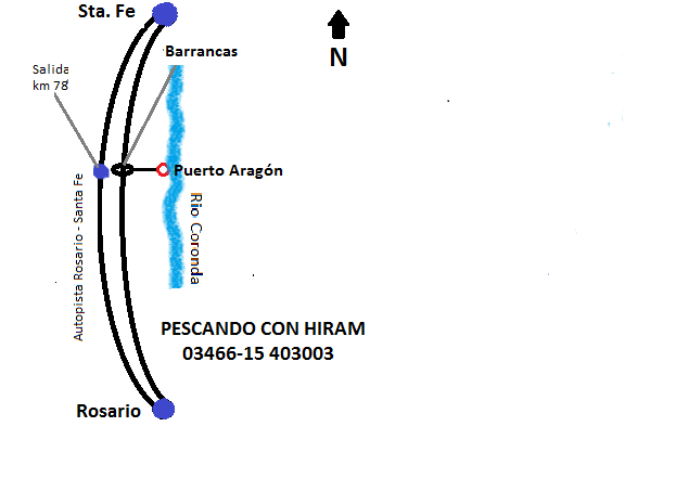 Croquis de ubicaciòn geogràfica de Puerto Aragòn