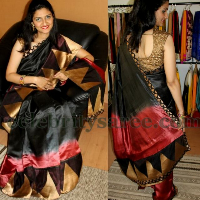 Temple Border Black Silk Saree
