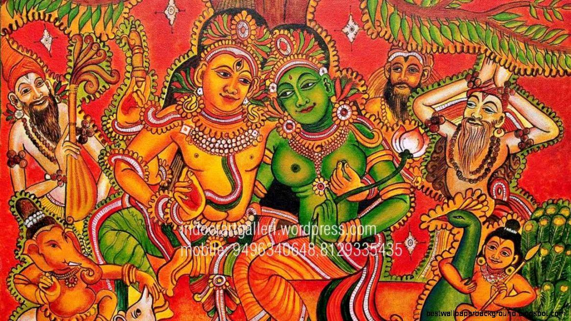 kerala mural painting   quotsiva parvathi quot Beautiful mural painting