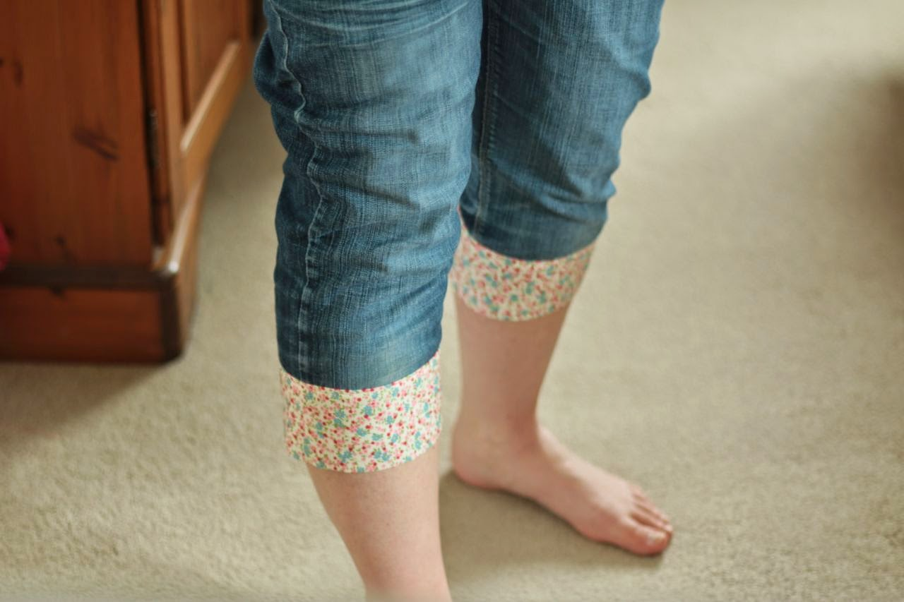 My jeans, with their pretty new floral fabric turn-up hem line.