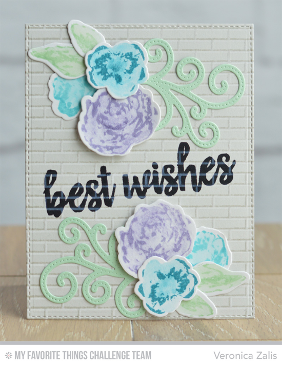 Best Wishes Card by Veronica Zalis featuring the Brushstroke Birthday stamp set, the Watercolor Flowers stamp set and DIe-namics, and the Pierced Fancy Flourish Die-namics #mftstamps