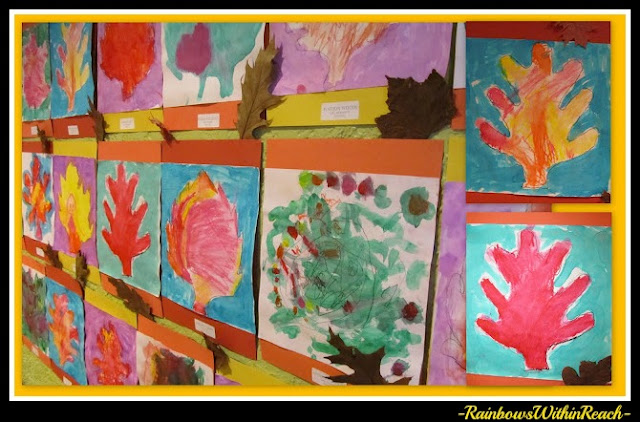 photo of: Preschool Fall Leaf Paintings on Bulletin Board (Fall RoundUP via RainbowsWithinReach) 