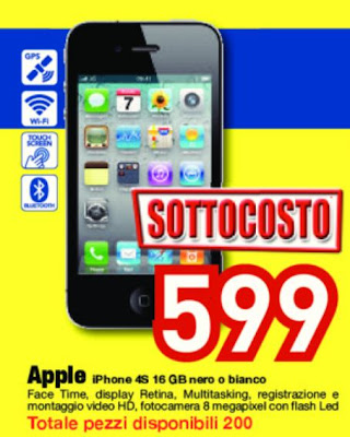 iPhone 4s a 599 euro a roma