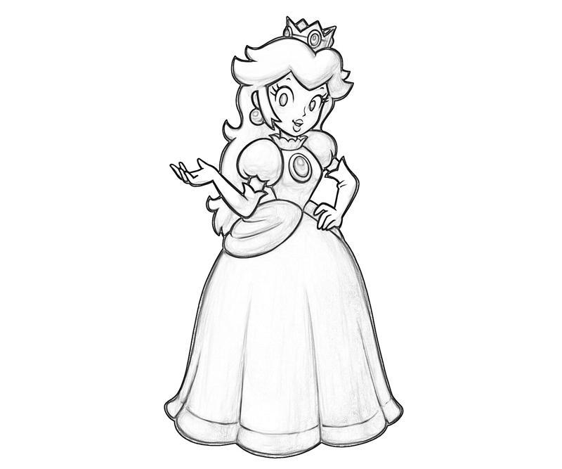 Princess Peach Peach Profil Coloring Pages title=