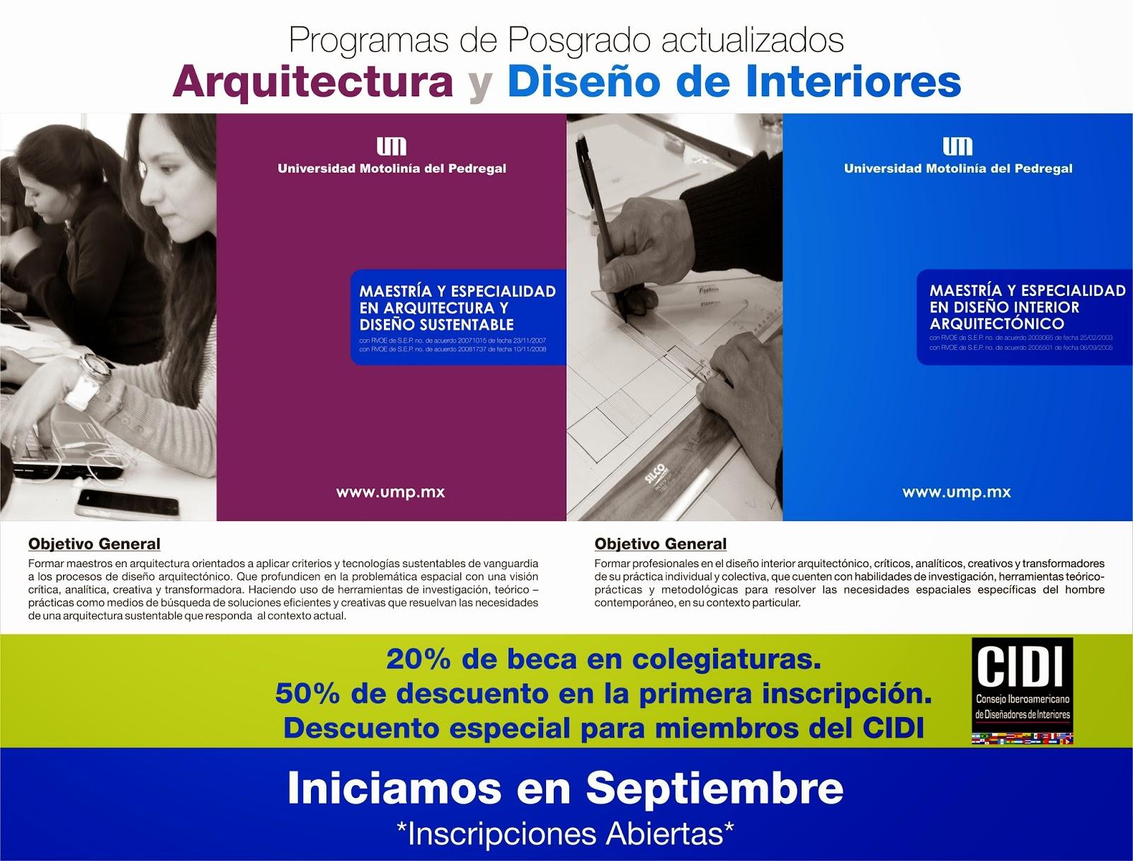 Cidi newsletter becas y descuentos para miembros cidi en for Maestria en arquitectura de interiores